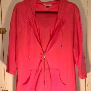 Coral hoodie with netting sleeves